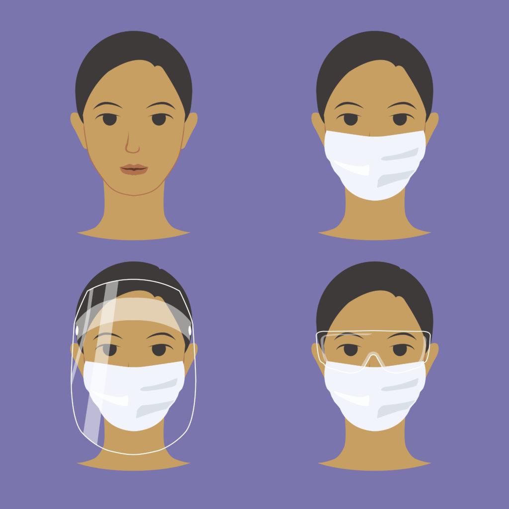 visiere de protection plus masque plus lunette et masque chirurgical EPI